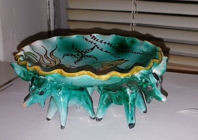 Lovely Vintage Italy Art Pottery Donkey dish. under the sea scene