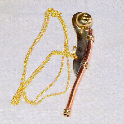 New 5 Inch Brass Copper Boatswain Whistle Chain Bosun Call Pipe Maritime
