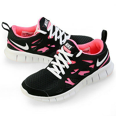 5115a8b400c1d NEW Girls Nike Free RUN 2.0 RN BLACK WHITE PINK 477701-001 rn flyknit 5.5