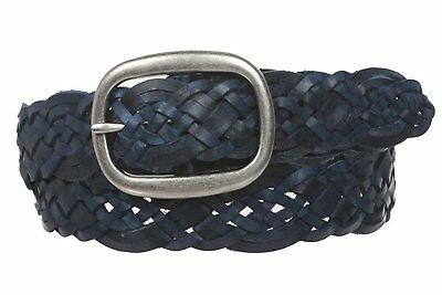 "1 1/2"" 37 mm Women's Oval Braided Woven Leather Belt, Navy Blue 