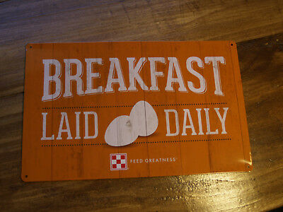 Purina feed chicken metal sign yellow breakfast laid daily