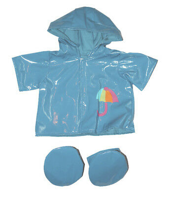"""Blue Raincoat & Boots Outfit teddy clothes fits 15"""" Build a Bear"""
