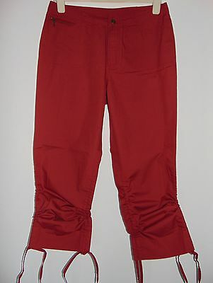Bnwt Vintage Laura Ashley Wine 100% Cotton Bermuda Style Crop Trousers, 12 Uk