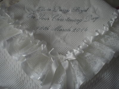 beautiful WHITE baby christening shawl  *PERSONALISED*