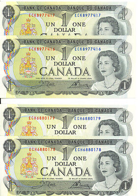 Bank of Canada 1973 $1 Dollar Lot of 2 Consecutive Pairs ECH ECK Crow-Bouey UNC