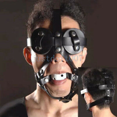 PU Leather Goggles Mask Eye Mask + Breathable Open Mouth gag Slave Harness new