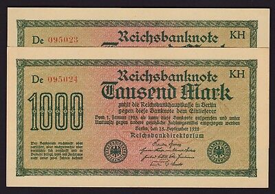 Germany 1000 Mark 1922 3rd Issue Reichsbanknote P-76b Consecutive Pair
