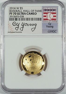 2014-W $5 Gold Baseball HOF (Cy Young Signature) -- NGC PF70 UC -- NO RESERVE