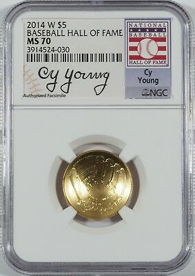 2014-W $5 Gold Baseball HOF (Cy Young Signature) -- NGC MS70 -- NO RESERVE