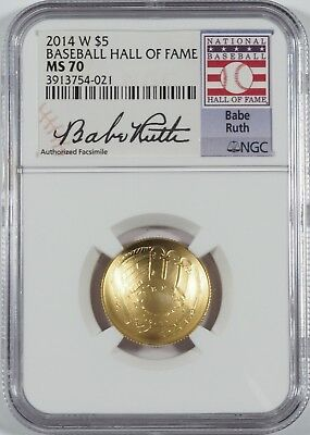 2014-W $5 Gold Baseball HOF (Babe Ruth Signature) -- NGC MS70 -- NO RESERVE