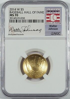 2014-W $5 Gold Baseball HOF (W. Johnson Signature) -- NGC MS70 -- NO RESERVE