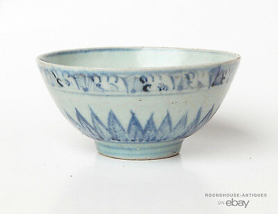 15th C. Antique Chinese Ming Dynasty Porcelain Blue White Swatow Footed Bowl