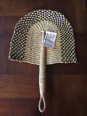 Nwt African Woven Grass Hand Fan Natural, Purple & Yellow Pattern Wall Art