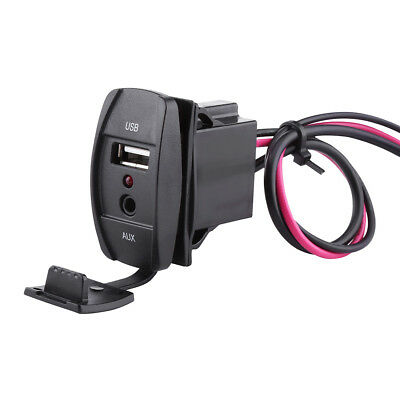 12-24V Car Boat Dash Flush Mount USB 3.5mm AUX Extension Cable Mounting Panel DY