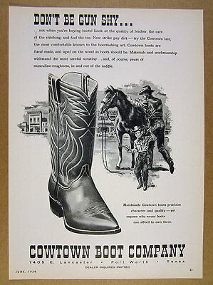 1959 Cowtown Cowboy Boots horse illustration art vintage print Ad