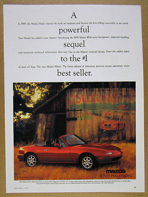 1994 Mazda MX-5 Miata red car old barn color photo vintage print Ad