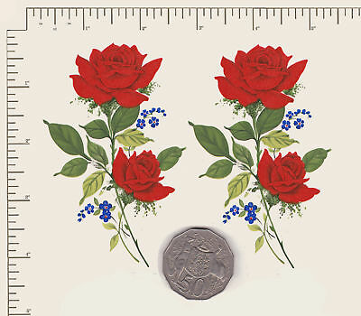 """2 x Waterslide ceramic decals Red roses spray Approx. 4"""" x 2 1/2"""" PD11a"""
