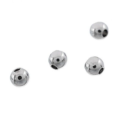 Wholeale 50PCs Stainless Steel Silver Round Solid Beads Jewelry Findings SF lot