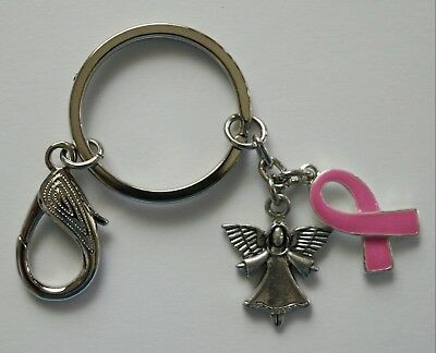Keyring #831 ANGEL & BREAST CANCER AWARENESS Pink Ribbon (25mm) keychain key