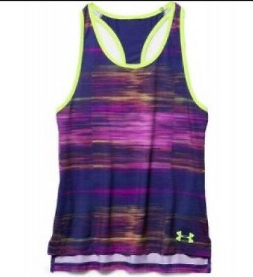 Girls Youths Under Armour Heat Gear Racer Back Top Gym Training Purple Pink New