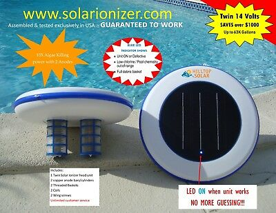 Solar Pool Ionizer -Twin Anodes -14.0V - with LED On/Off Indicator -NO SALES TAX