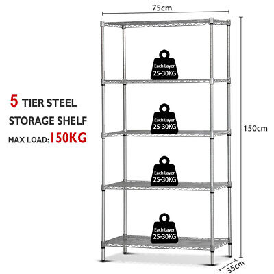 Multi 1.5M Stainless Steel Wire Shelf Metal Rack Home Garage Storage Shelves