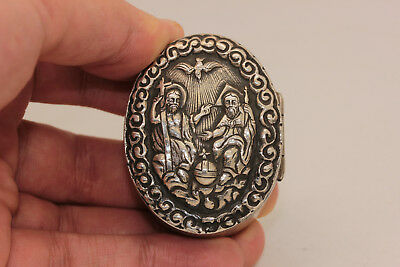 Antique Original Silver Greek Madonna Jesus Decorated Amazing Small Medicine Box