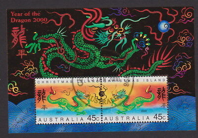 AUSTRALIA/Christmas Is 2000 LUNAR Year of the DRAGON M/S CTO 1st Issue - in gold