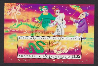 Australia/Christmas Is. 2001 Lunar Year of the SNAKE M/S + CTO - 1st day Cancel