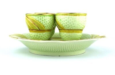 Art Deco Style Egg Cup Set 4 Egg Cups & Plate Green Yellow Gold Melba Ware 1950s