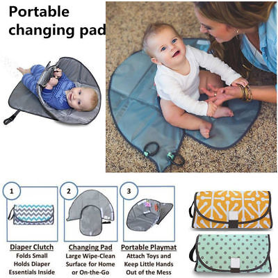 US Clean Hands Changing Pad Portable Baby 3in1 Cover Mat Folding Diaper Bag Kit