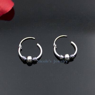 Genuine 925 Sterling Silver Antique Style Hinged Bead Hoop Earrings EV103