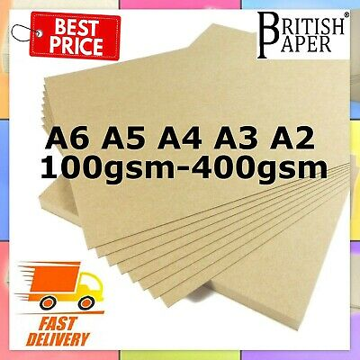 A6 A5 A4 A3 A2 100gsm - 300gsm BROWN KRAFT CARD CRAFT RECYCLED ECO PRINTER PAPER