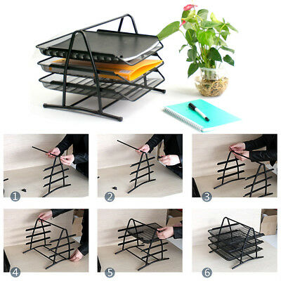 Office Filing Trays Holder A4 Doent Paper Wire Mesh Storage 3 Tiers Metal