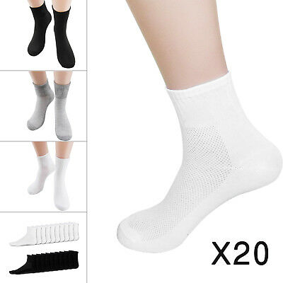 20 Pairs of Mens Cotton Rich Sport Socks Work Socks Size 6-11 Black White Mix