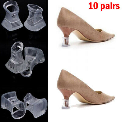 10 pairs Clear Black Stiletto High Heel Protectors Covers Stoppers Petite Brides