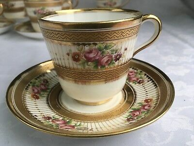 Minton English Porcelain Cup & Saucer Floral & Gold Gilt No.C5671