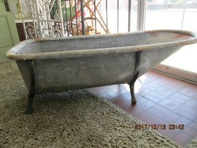 Antique GALVANIZED BATHTUB Cowboy Western Primitive Bath Tub LOCAL PICK UP ONLY