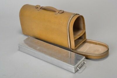 Fine Quality Mid C20th Leather Thermos Flask & Sandwich Tin Case. Ref EQO