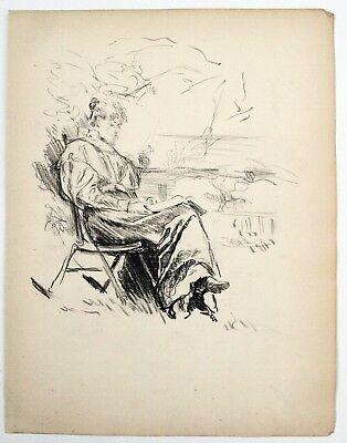 F. H. Townsend (1868–1920) Charcoal drawing. Woman reading in garden, 1896.