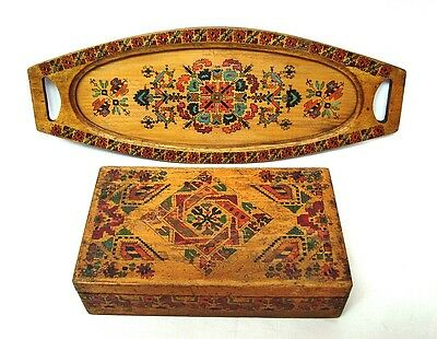 Antique wooden serving tray w/ glass & box Hand painted Bulgarian folk art 30s