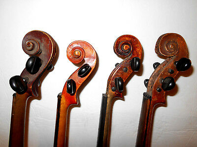 Lot of 4 Vintage Old Antique Full Size Violins - No Reserve
