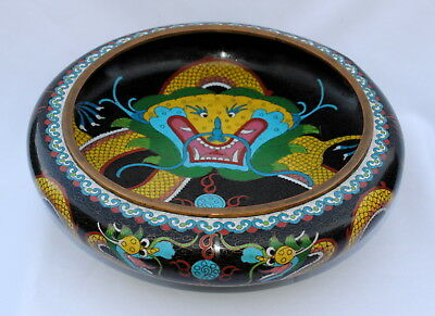 """Nice Antique Chinese Cloisonne Large Dragon Bowl 12"""" Inches"""