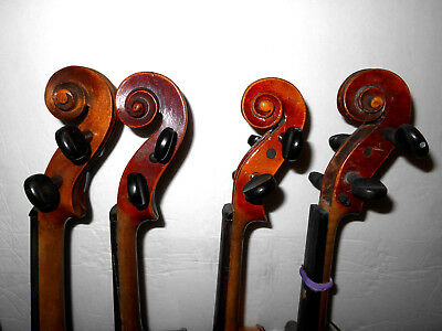 Vintage Lot of 4 Old Antique Full Size Violins - No Reserve