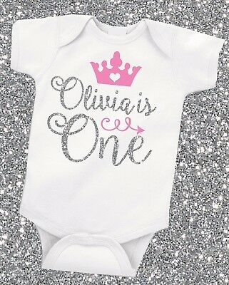 Personalised Silver Glitter First 1st Birthday Baby Girl Grow Vest Free P&P
