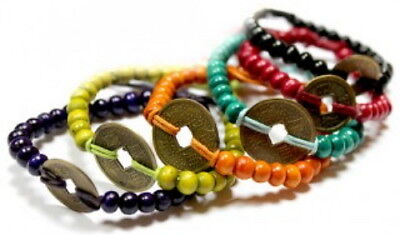 Feng Shui Good luck Bracelet - Chinese Wooden Bead Bracelet with Lucky Coin