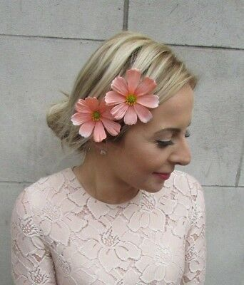 2 x Peach Daisy Flower Hair Clips Bridesmaid Fascinator Festival Pins Boho 5234