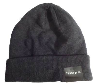 d72de76c580 VAN HEUSEN MEN Knit Beanie Black Cuffed Hat One Size HVH53K22 ...