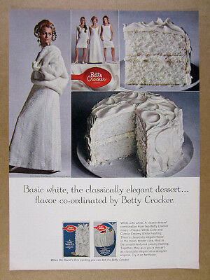 1967 Betty Crocker Classic White Cake & Frosting Mix vintage print Ad