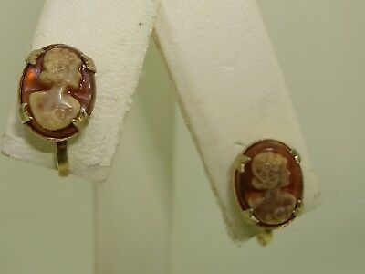 Antique C 1920-30'S Gold Washed Sterling Molded Lucite Cameo Earrings!